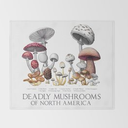 Deadly Mushrooms of North America Throw Blanket