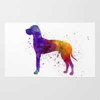 great dane Area & Throw Rugs featuring Great Dane 01 in watercolor by Paulrommer