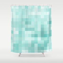 geometric square pixel pattern abstract in green Shower Curtain