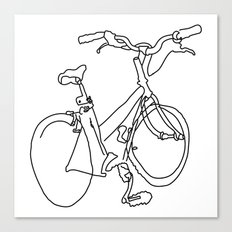 Blind Contour Bicycle Canvas Print