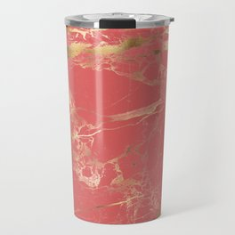 Marble, Coral + Gold Veins Travel Mug