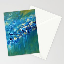 Blue and Green Abstract Stationery Cards