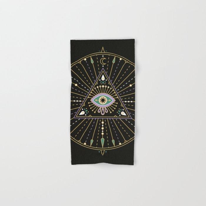 Evil Eye Mandala – Black Hand & Bath Towel