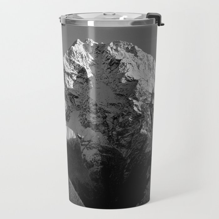 Moon Over Pioneer Peak B&W Travel Mug
