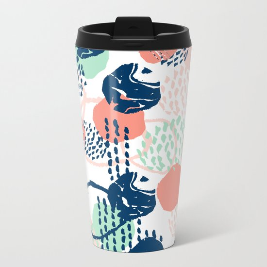 Abstract coral mint navy modern color palette basic canvas art for home Metal Travel Mug