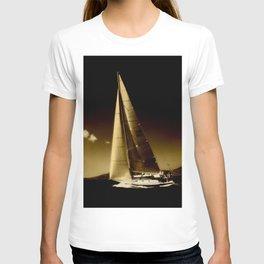 sailboat sailing in storm T-shirt