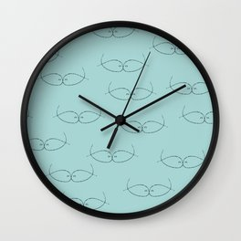 Seeing Blue Green Kissing Fish Wall Clock