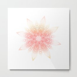 Grunge Decorative Mandala on marble Metal Print