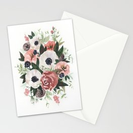 Anemone Berry Watercolor Bouquet Stationery Cards