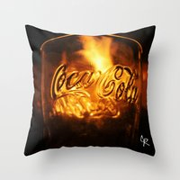 coca cola Throw Pillows featuring Coca Cola by CharlieRae