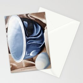 Oil paint on paper painting still life of and egg and a bowl Stationery Cards