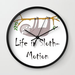 Life in Sloth-Motion Sloth on a Branch Wall Clock