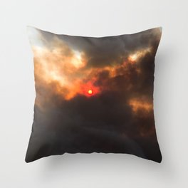 Wildfire | Nature Smoky Sky Blue Red Sun Weather Art Print Tapestry Throw Pillow