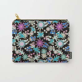 Floral Retro on Black Carry-All Pouch