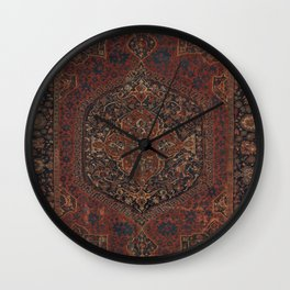 Boho Chic Dark I // 17th Century Colorful Medallion Red Blue Green Brown Ornate Accent Rug Pattern Wall Clock