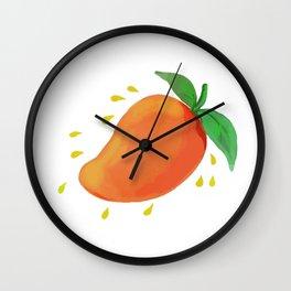 Juicy Mango Fruit Watercolor Wall Clock