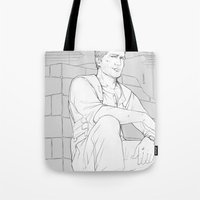 uncharted Tote Bags featuring Nathan by Sbrasi