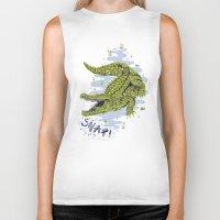 crocodile Biker Tanks featuring Crocodile by Sam Jones Illustration