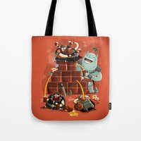 vikings Tote Bags featuring :::Drunk Vikings::: by Ilias Sounas