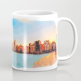 Chicago Skyline At Sunset Viewed From North Avenue Beach Coffee Mug