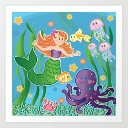 Cute Mermaid and Friends by Beebus Marble undersea, octopus, coral, colorful Art Print