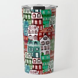 Christmas Village in Watercolor Red + Green Travel Mug
