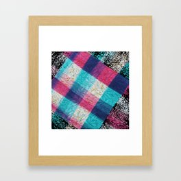 Artsy geometrical teal pink black watercolor lace Framed Art Print