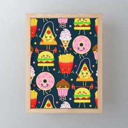 Fit Fast Food (Navy) Framed Mini Art Print