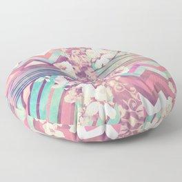 Retro Pink Turquoise Floral Stripe Chevron Pattern Floor Pillow