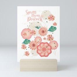 Elegant Floral Ornament, Spring Peach Garden, Decorative Pink Flowers, blossom sakuras BOHO pattern Mini Art Print