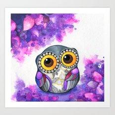 Owl in Purple Blossoms Art Print