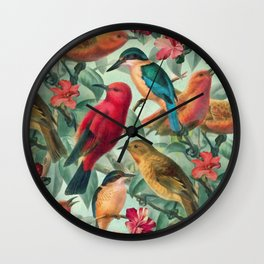 Birds in a summer garden Wall Clock