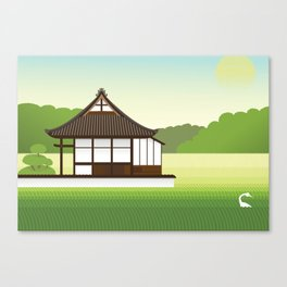 Alone in the rice Canvas Print