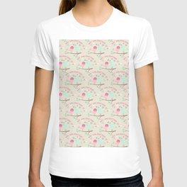 Pink teal gren love birds my valentine romantic floral T-shirt