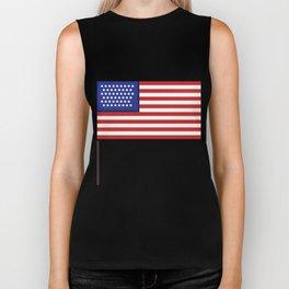 Pixel art USA flag steady Biker Tank