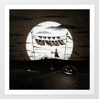Drawlloween 2015: Happy Halloween (Orange) Art Print