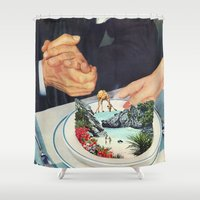 eugenia loli Shower Curtains featuring Bermuda a'la Soup by Eugenia Loli