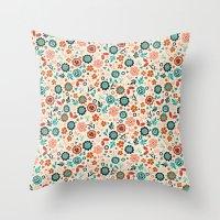 folk Throw Pillows featuring Folk Flowers by Anna Deegan