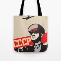 soviet Tote Bags featuring SOVIET RED ARMY by Sofia Youshi