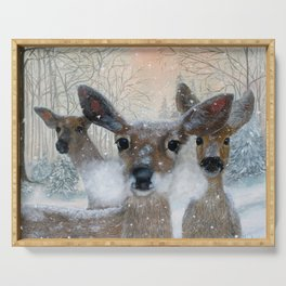 Deer in the Snowy Woods Serving Tray