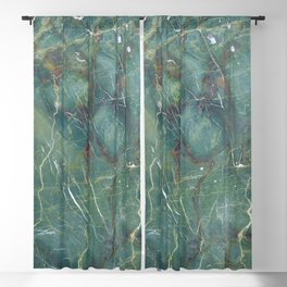 Malachite green marble texture, detail structure of natural marble Blackout Curtain