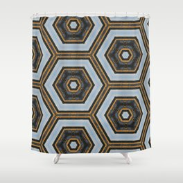 Black & Gold Geometric Pattern Shower Curtain