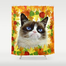 Funny Sad Autumn Cat Shower Curtain