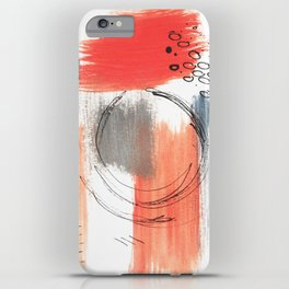 Comfort Zone - A minimalistic india ink and acrylic abstract piece in pink, black, gray, and blue iPhone Case