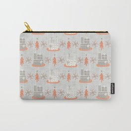 Wrapped Presents Under the Tree Grey and Orange Carry-All Pouch