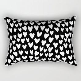 Linocut printmaking hearts pattern minimalist black and white heart gifts Rectangular Pillow