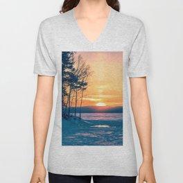 Winter sunset and the sun pillar Unisex V-Neck