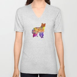 Border Collie in watercolor Unisex V-Neck