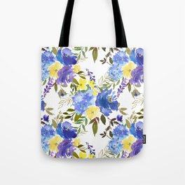 Bouquets of Blue and Yellow Blossom on Gray  Tote Bag