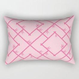 Bamboo Chinoiserie Lattice in Pink + Bubblegum Pink Rectangular Pillow